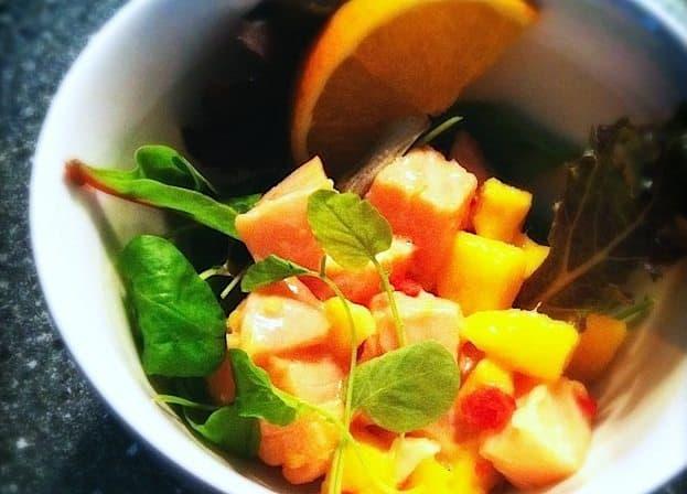 Ceviche van zalm met mango, kokos en gember kopie