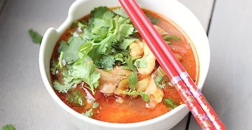 Chinese Szechuan soep, lekker!