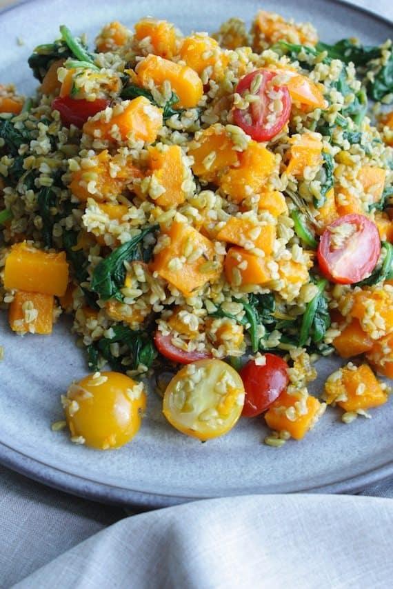 Freekeh salade met geroosterde pompoen en spinazie_3