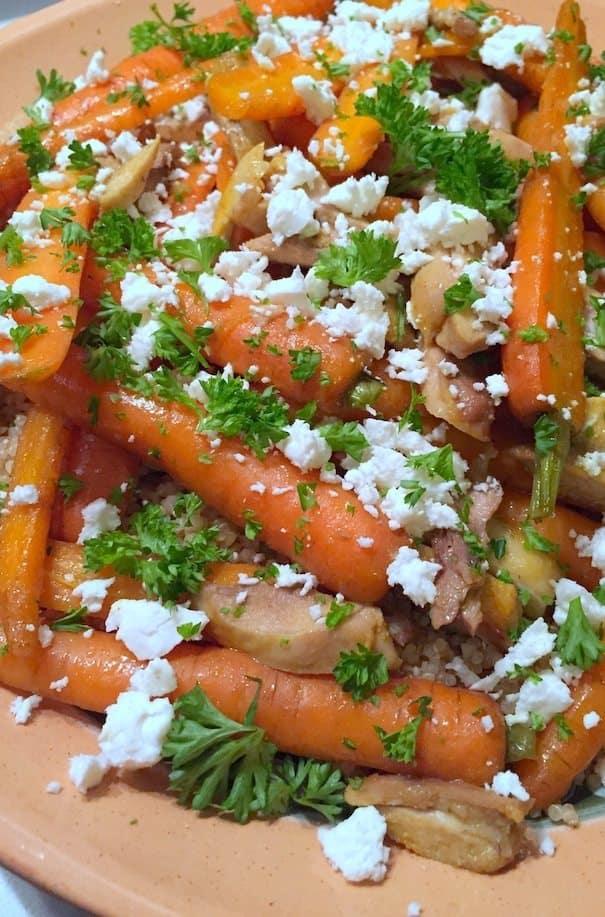 Geroosterde bospeen met kip, bulgur en feta_5