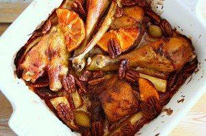 Kip met bloedsinaasappel, maple syrup en pecans_1