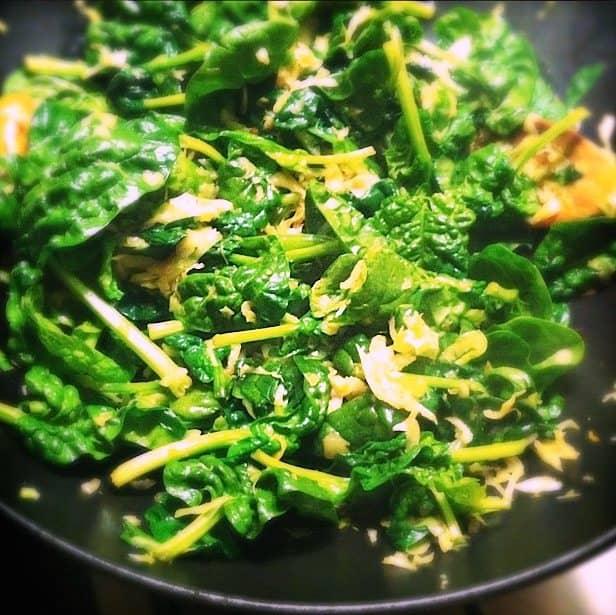 Roergebakken spinazie en spitskool_2