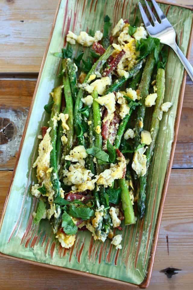 Salade met groene asperges_ei_blauwe kaas_2