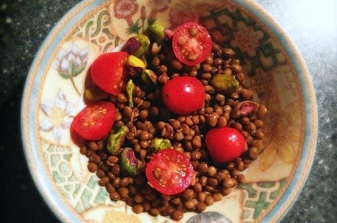 Salade met linzen, pistache en frambozenazijn_1