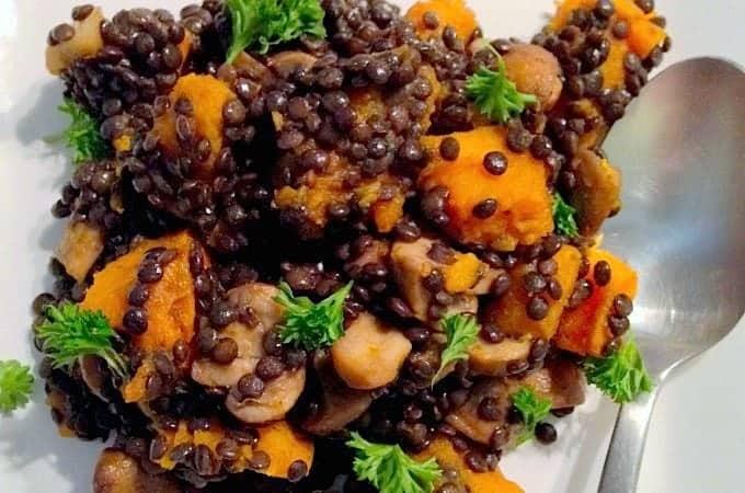 salade met pompoen champignons en linzen francesca kookt. Black Bedroom Furniture Sets. Home Design Ideas
