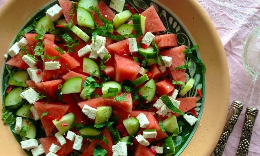 zomerse salade met watermeloen feta en munt francesca kookt. Black Bedroom Furniture Sets. Home Design Ideas