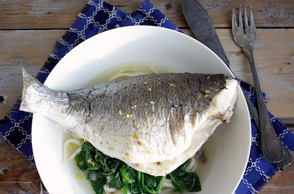 Vis met dorade, spinazie en noedels_1