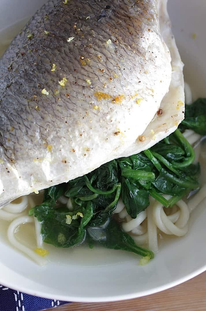 Vis met dorade, spinazie en noedels_2